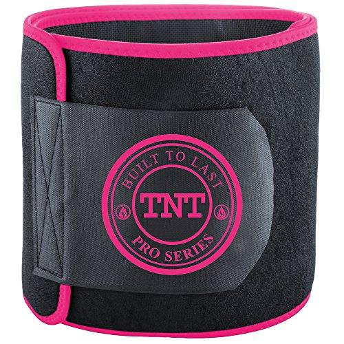TNT Pro Series Waist Trimmer Weight Loss Ab Belt - Premium Stomach Fat Burner Wrap and Waist Trainer (Small)