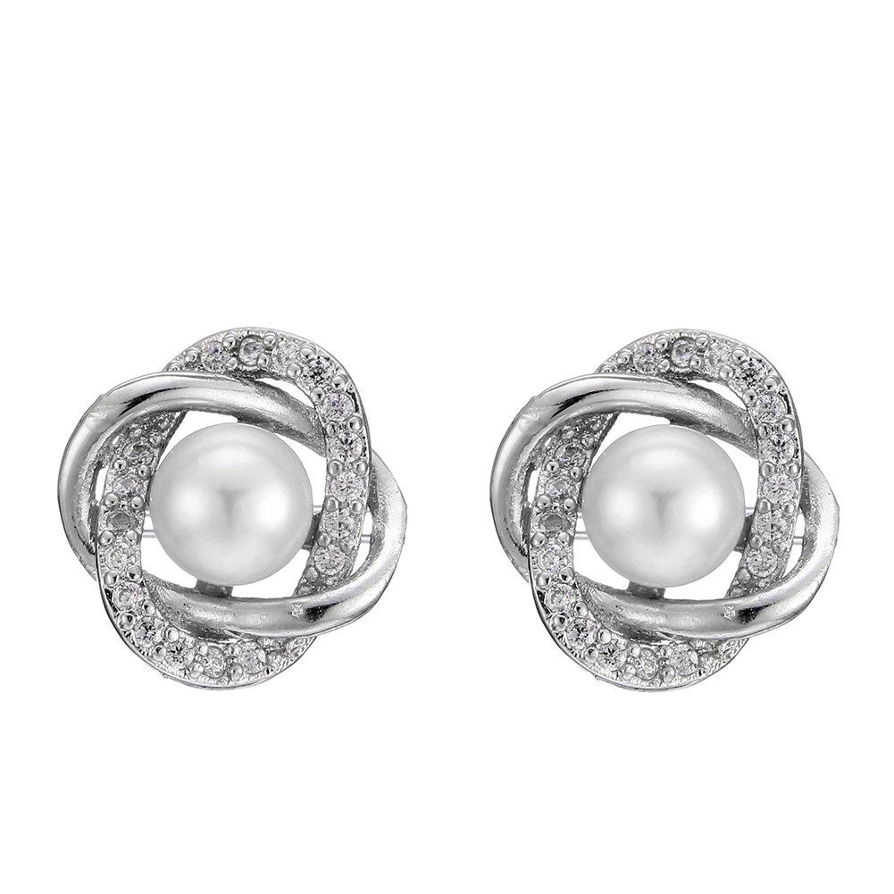 Polytree Earrings, Elegant Flower Faux Pearl Rhinestones Ear Studs Jewelry Gift for Womens Girls Charm Accessories
