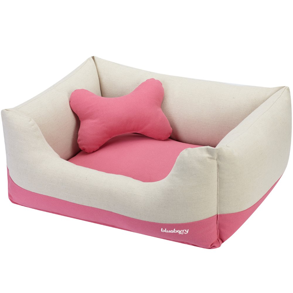 Canvas Bed Baby Pink & Beige Whole Bed External Size 25\ Canvas Bed Baby Pink & Beige Whole Bed External Size 25\ blueeberry Pet Heavy Duty Cotton Linen Blended Canvas Overstuffed Cuddler Bolster Lounge Dog Bed, Removable & Washable Cover w YKK Zippers, 2