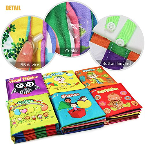 My First Soft Book,TEYTOY 6 PCS Nontoxic Fabric Baby Cloth Books Early Education Toys Activity Crinkle Cloth Book for Toddler, Infants and Kids Perfect for Baby Shower (New Version) by TEYTOY (Image #2)