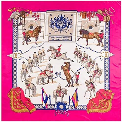 LUXMwy Bufanda de Seda de Sarga de 130 cm, Bufanda Cuadrada Grande con Estampado de Caballo, pañuelo para Mujer, pañuelo de Marca de Lujo, Bufandas de Fular, envolturas para Damas, Echarpe