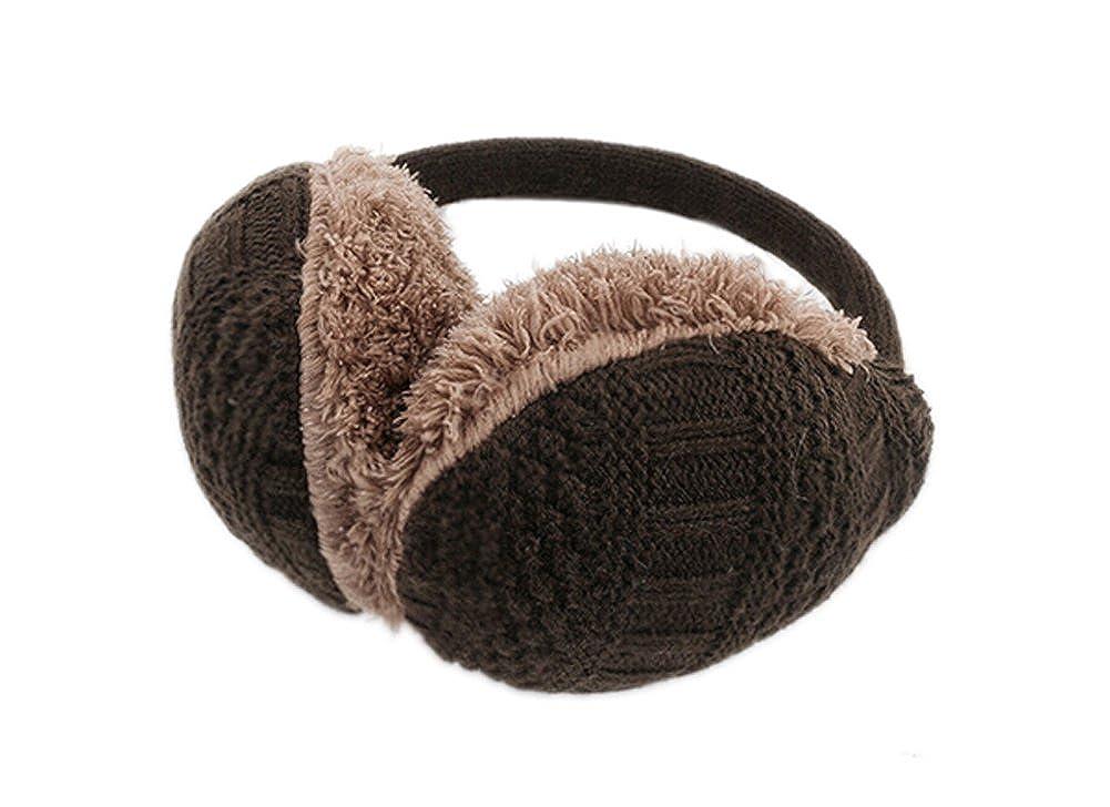 DELEY Unisex Simple Cable Knit Earmuffs Winter Warm Plush Ear Warmer Headband FS0075-kafei