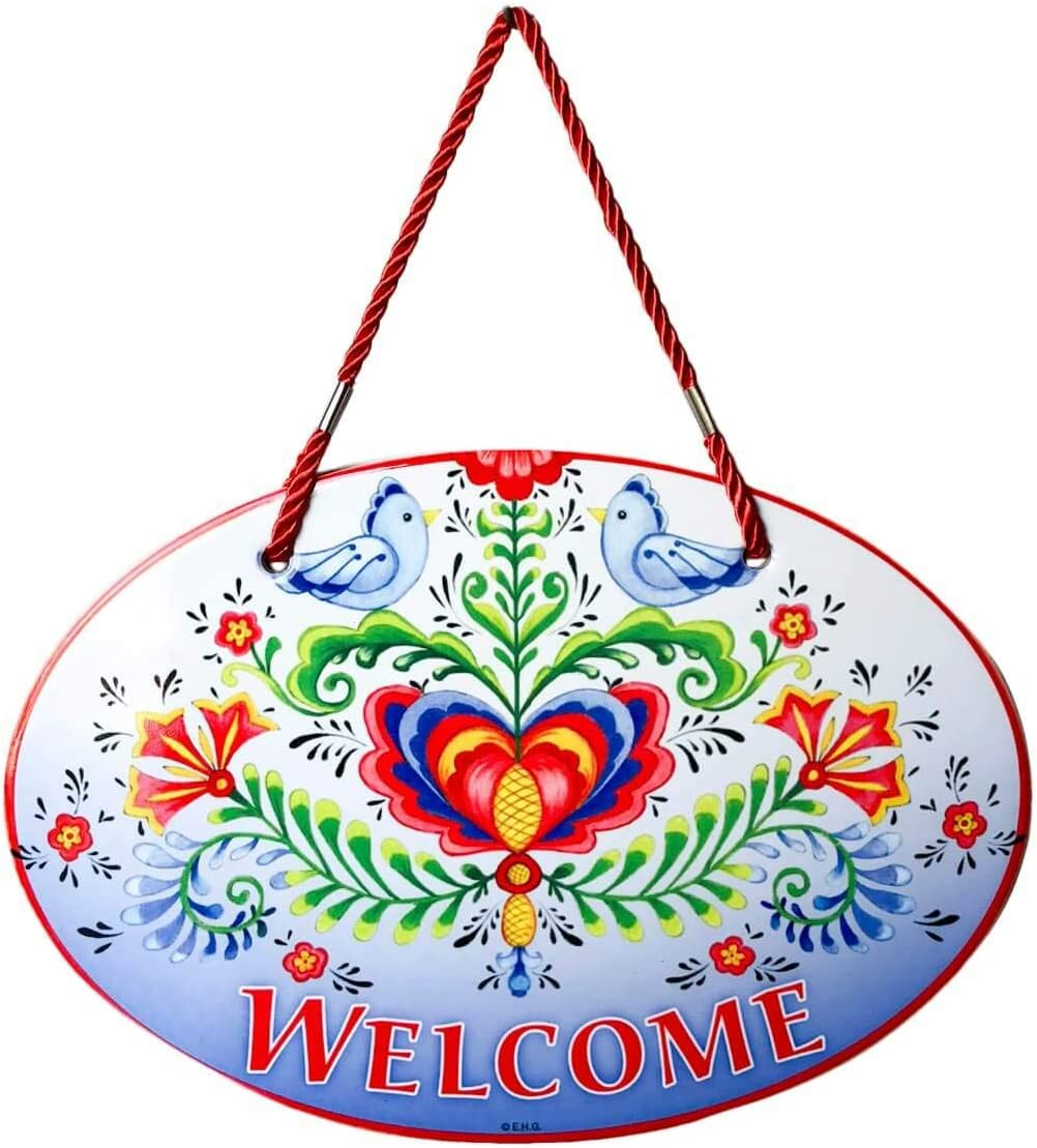Essence of Europe Gifts E.H.G Welcome Friends with Attractive Lovebirds & Rosemaling Motif Welcome 11x8 Ceramic Welcome Door Sign by E.H.G.
