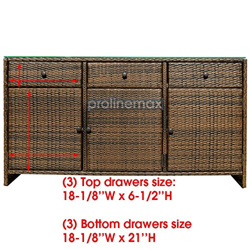 ESPRESSO 3 Drawers Wicker Rattan Buffet Serving Cabinet Table Towel Dining Dish China Storage Counter Outdoor