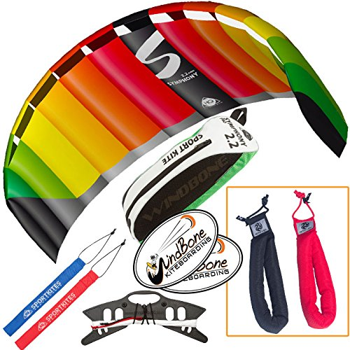 HQ Symphony Pro 2.2 Kite Rainbow Bundle (3 Items) + Peter Lynn Heavy Duty Padded Kite Control Strap Handles Pair + WindBone Kiteboarding Lifestyle Stickers by HQ Power Kites, Peter Lynn, WindBone