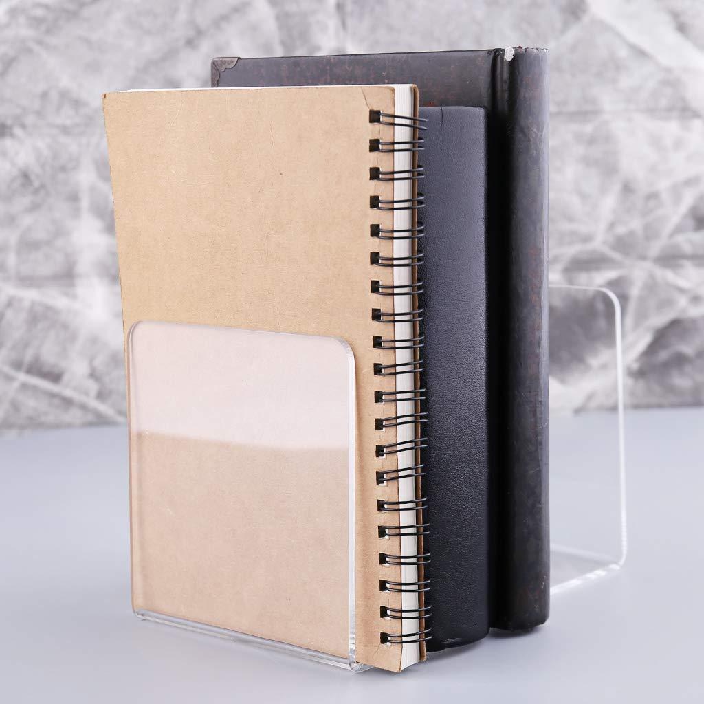 resistenti fermalibri porta libri per scuola organizer da scrivania Fermalibri in acrilico trasparente a forma di L cancelleria da ufficio