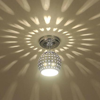 Moderno Chic Dispersión Luz de techo Focos Creativo Metal Ronda Mundo Hueco Diseño Lámpara de techo para Dormitorio Cocina Comedor Pasillo Pasillo Entrada Escaleras Loft Bar Balcón, Cromo, D12CM: Amazon.es: Iluminación