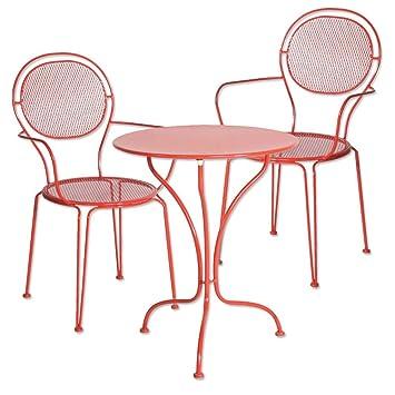 Ensemble de jardin Jambi, table et 2 chaises métal rouge