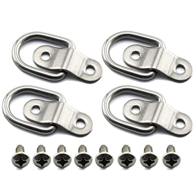 HJ Garden 4pcs 304 Stainless Steel D Ring Tie Down Anchors Point Lashing Ring Surface Mount with Mounting Bracket for Loads on Trucks Trailers 37x47mm: Home Improvement