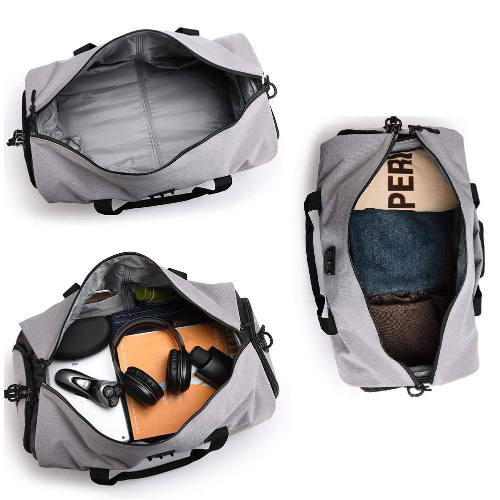 Gereton Canvas Travel Duffel Bag Sports Gym Bag Foldable Overnight Carry Waterproof Large Luggage Storage Handbag for Men Women