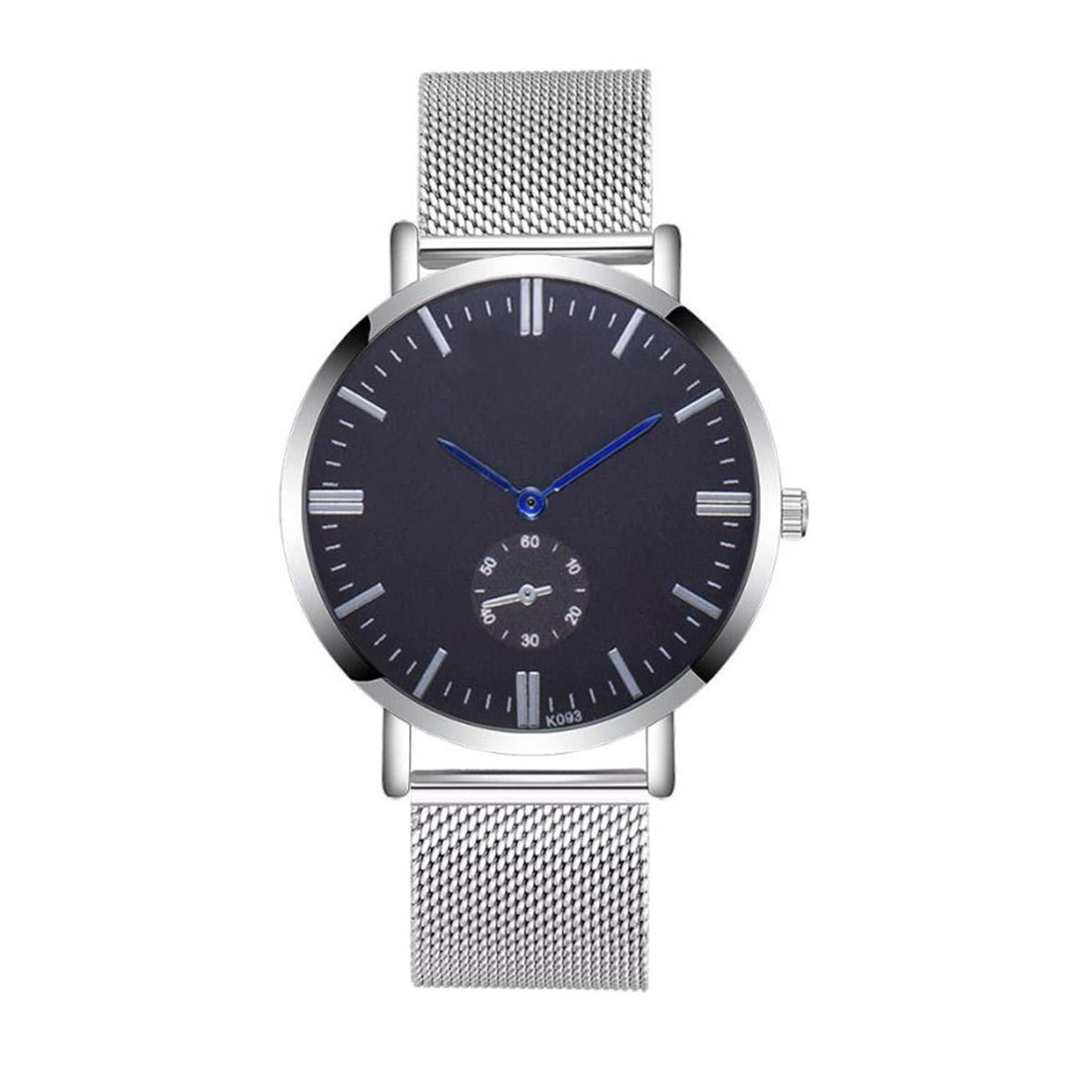 Amazon.com : freedomer Casual Men Watch Luxury Crystal Stainless Steel Mesh Analog Quartz Wrist Watch Business Men Watch relojes para Hombre(D, ...