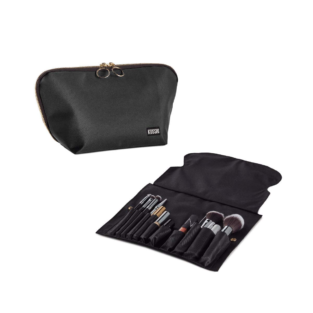KUSSHI Washable Makeup & Cosmetic Travel Bag with Brush Organizer