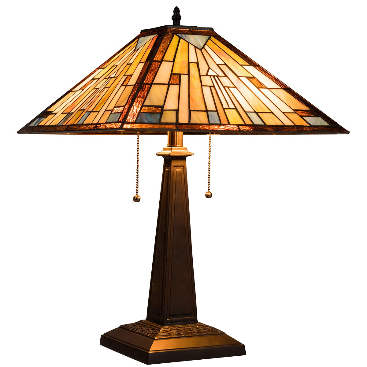 Tangkula Tiffany Style Table Lamp, 16 Inch Tall Tetragonal Reading Light, Stained Glass Lampshade Antique Base Table Lamps, Suitable for Bedroom, Living Room