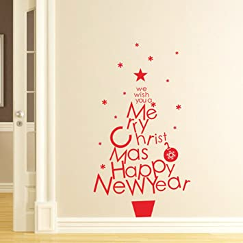 Amazon.com: Christmas and Happy New Year Quote Tree Red Wall Decals ...