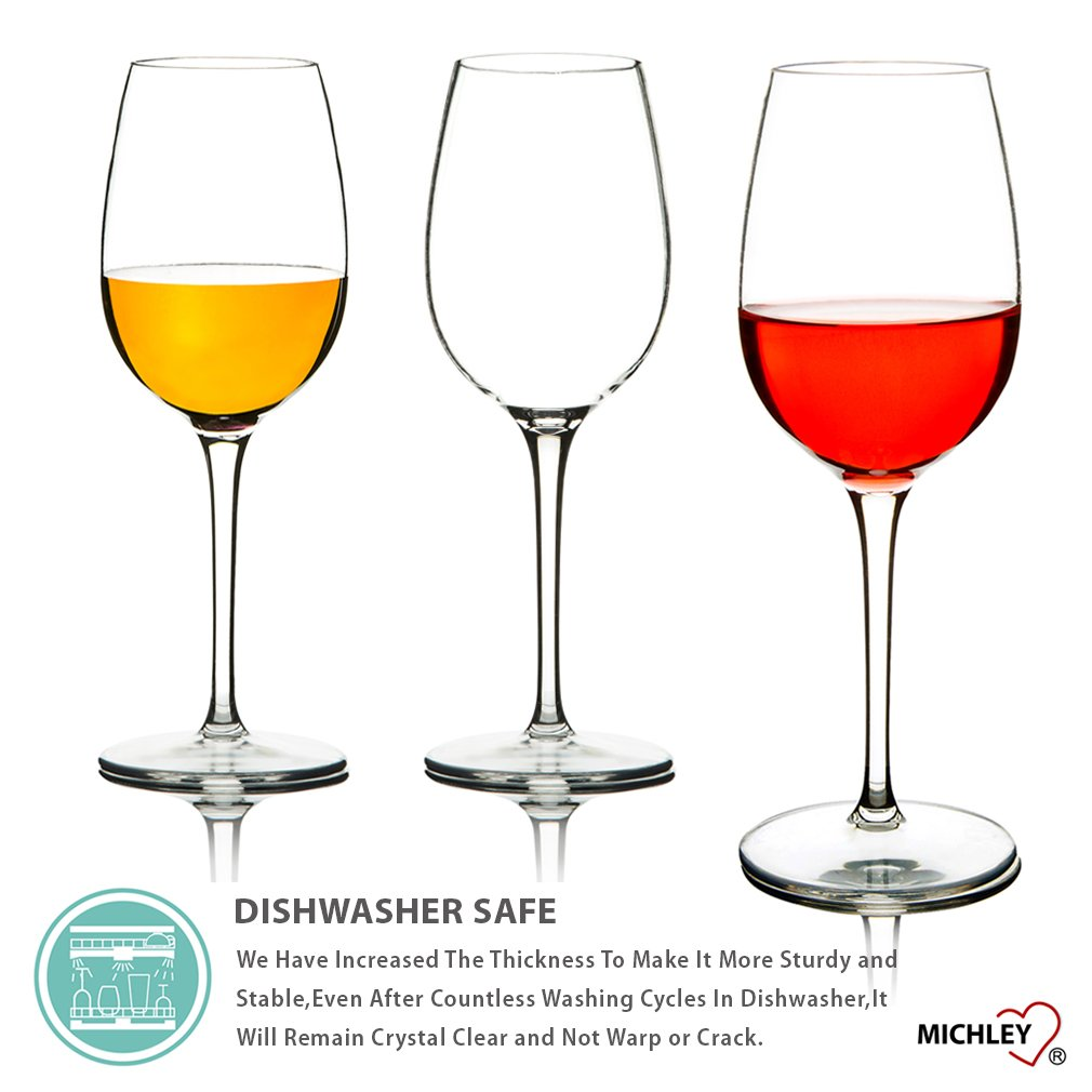 Dishwasher-safe 12.5 oz BPA-free Set of 2 JYCP-010B MICHLEY Unbreakable Red Wine Glasses 100/% Tritan Plastic Shatterproof Wine Goblets