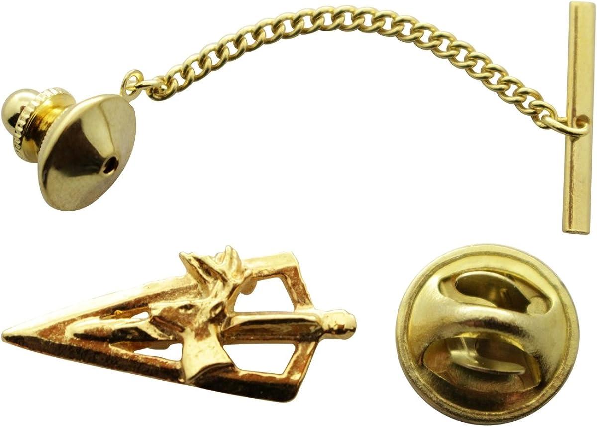 Sarah's Treats & Treasures Broadhead with Deer Tie Tack ~ 24K Gold ~ Tie Tack or Pin