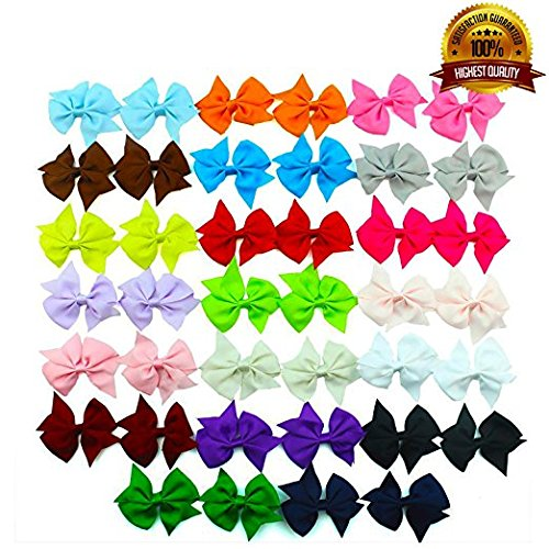 20 Pair 3.5 Inch Hair Bows Girls Children Alligator Grosgrain Ribbon Hair Clips - Assorted Bows
