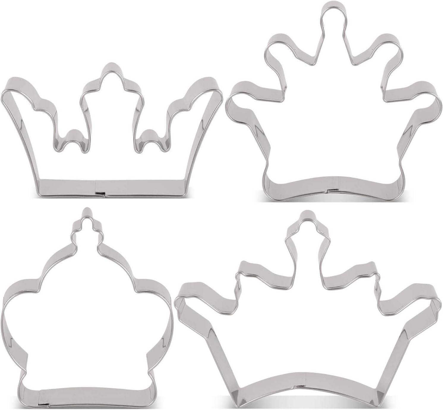 K/önigskrone Prinzenkrone und Prinzessinnenkrone 4-Teilig K/önigskrone Edelstahl KENIAO Ausstechformen Kronen Ausstecher-Set