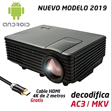 Proyector Full HD 1080P, LUXIMAGEN V100W (2019 Nuevo), Proyector Maxima luminosidad Portátil LED Cine en casa 1920x1080 HDMI Android USB TDT para PS4,Xbox ...