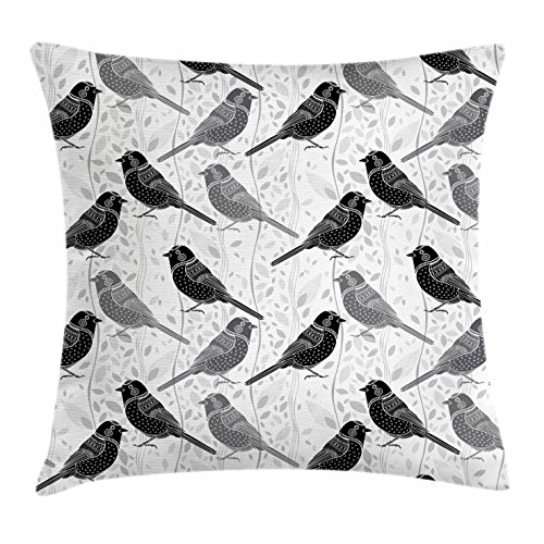 Ambesonne Grey Throw Pillow Cushion Cover, Floral Flower Buds Leaves Pattern English Country Style Victorian Lace Image Print, Decorative Square Accent Pillow Case, 36 X 36 Inches, Grey White