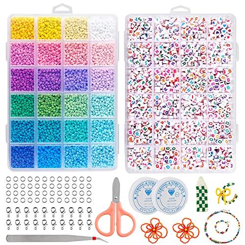 Onlyesh 132000 Stück Perlen Set, 3mm 24 Farben Glasperlen mit Buchstabenperlen, für DIY Armbänder, Halsketten Schlüsselanhänger