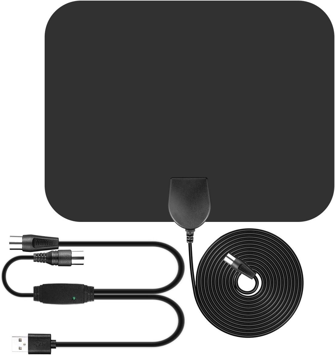 Antena de TV , Parsion Antena de TV interior de rango amplificado de 50 millas con amplificador de señal y amplificador avanzado y cable coaxial de ...