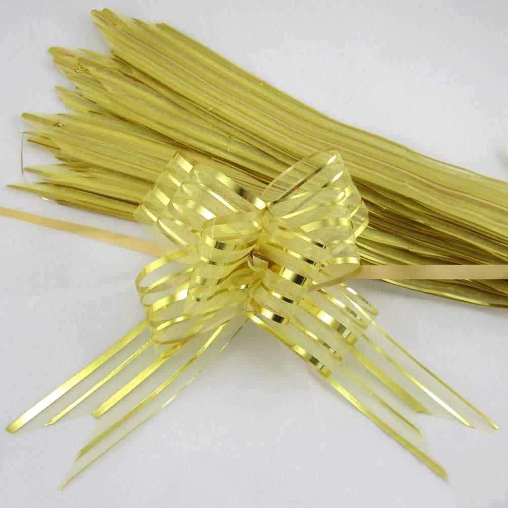 Healifty 10pcs tirare arco nastro tirare archi stringa archi di decorazione regalo di nozze auto doro