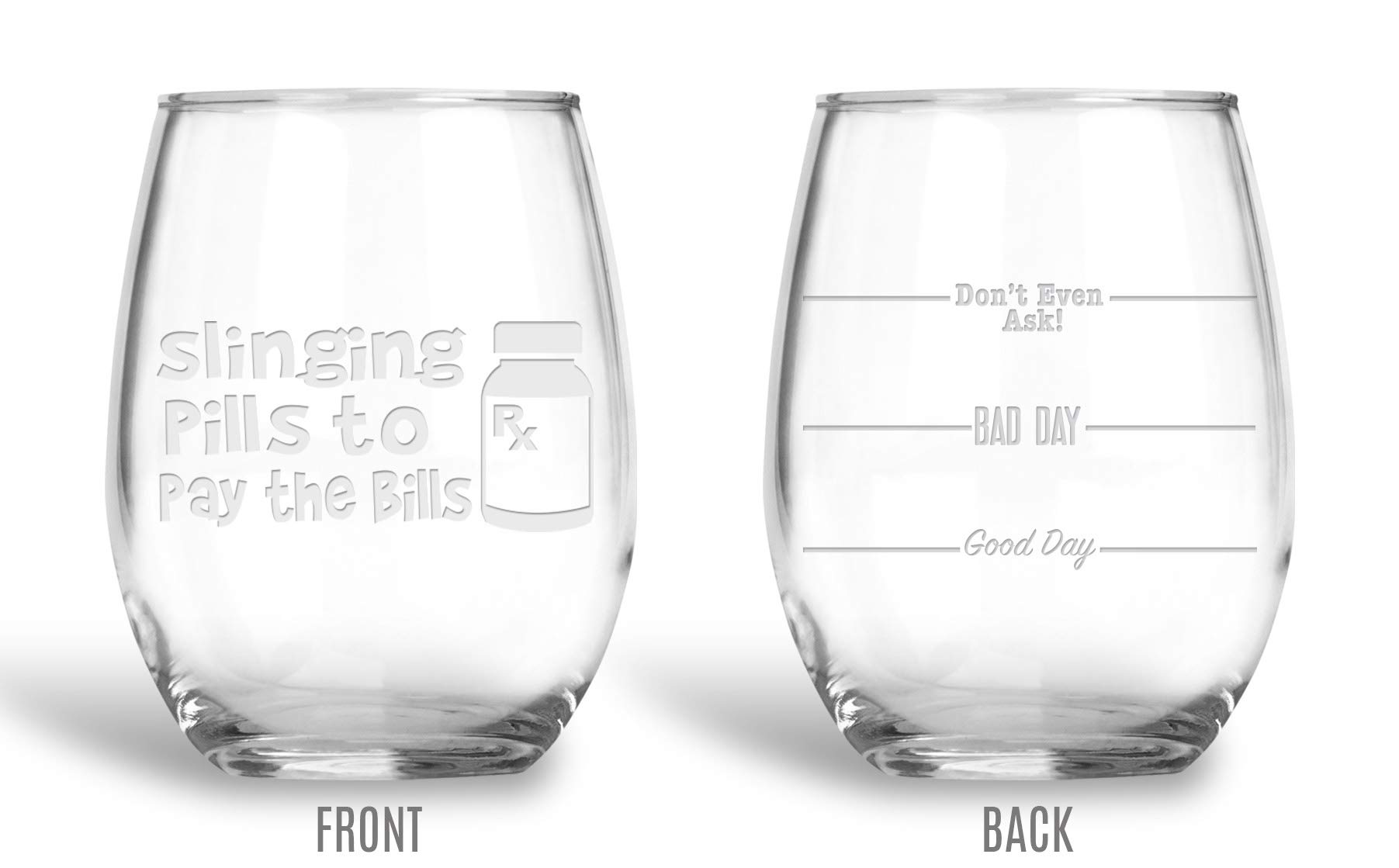 BadBananas Slinging Pills To Pay The Bills Pharmacist, Pharmacy Tech, 21 oz Engraved Large Stemless Wine Glass with Free Engraved Coaster - Funny Coworker Graduation Gift Glasses