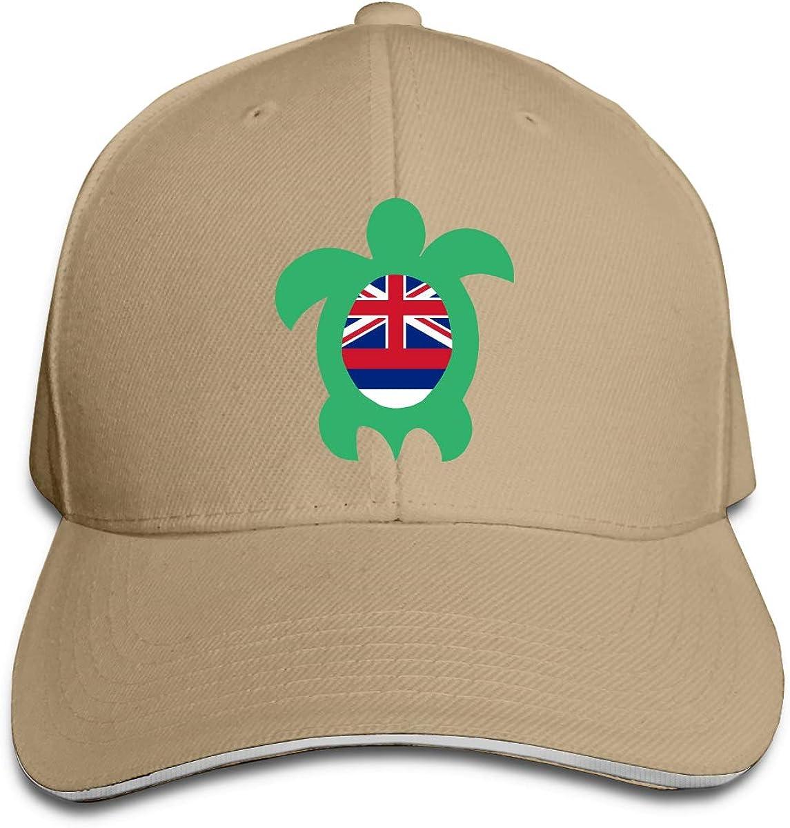 Hawaiian Flag Sea Turtle Outdoor Snapback Sandwich Cap Adjustable Baseball Hat Plain Cap