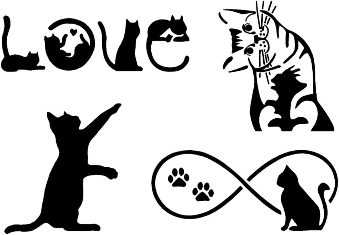 Amazon Com Cat Decal 4 Pack Cat Pawing Kitten Looking Love Infinity Cats Black Home Kitchen