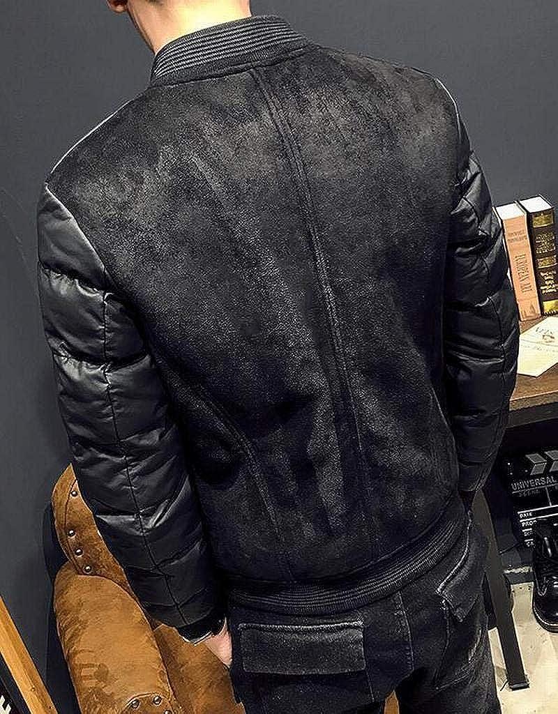 WAWAYA Men Zipper Thickened Stand Collar Slim Fit Winter Down Quilted Coat Jacket Overcoat