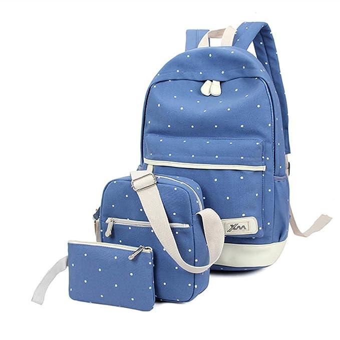 Mochilas Escolares Juveniles Mochila Cartera Escolar Casual de Lona Backpack Conjunto de Bolsos 3 en 1