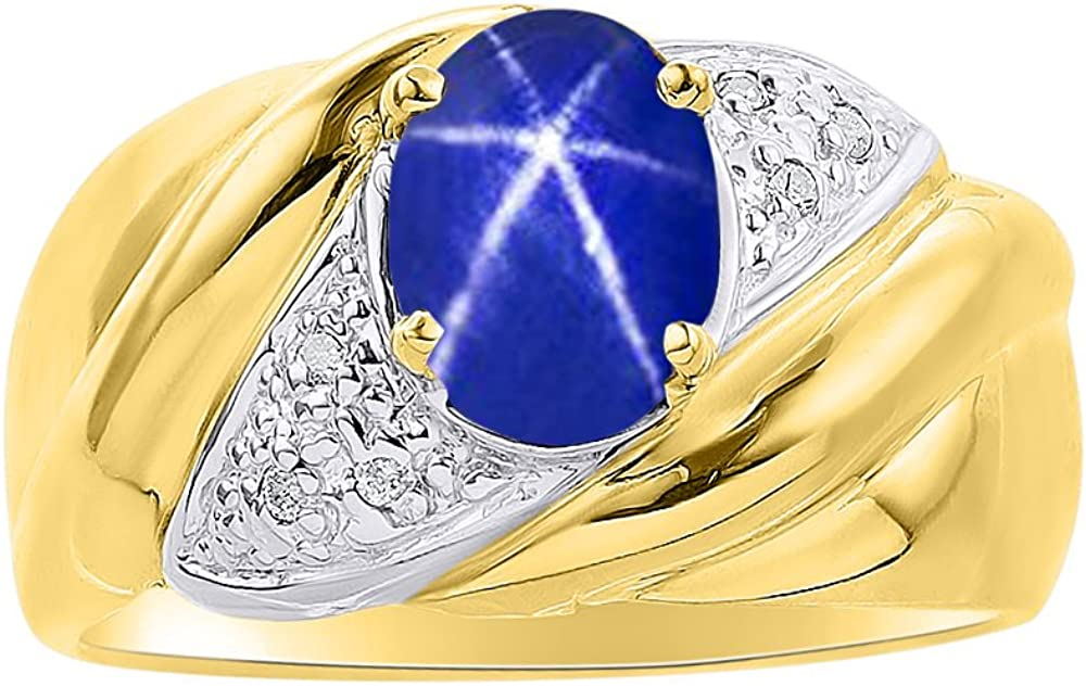 Diamond /& Blue Star Sapphire Ring Set In Yellow Gold Plated Silver Color Stone Birthstone Ring