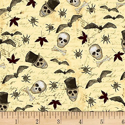 Clothworks Something Wicked Skulls & Bats Butter Fabric by The Yard -