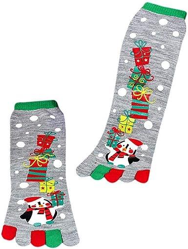 SHOBDW Mujeres Unisex Invierno Navidad Impresión Pingüino Multicolor Toe Calcetines Cinco Dedo Calcetines Calcetines de Algodón Térmico Fun Funky Novedad Regalo para Damas: Amazon.es: Ropa y accesorios