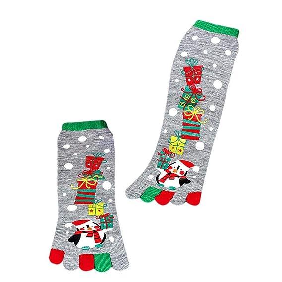 SHOBDW Mujeres Unisex Invierno Navidad Impresión Pingüino Multicolor Toe Calcetines Cinco Dedo Calcetines Calcetines de Algodón