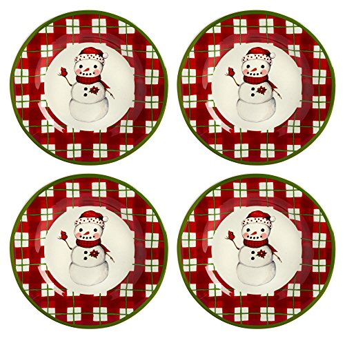 Country Roads by Laurie Gates Red Plaid Snowman Ceramic Plates, Set of 4