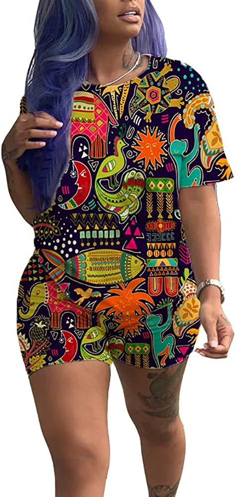Whear Plus Size 2 Piece Shorts Set for Women,Tracksuit Halloween Print Tank Tops and Shorts Lounge Wear Sport Outfits