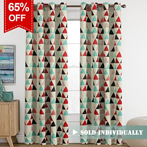 Ultra Sleep Energy Efficient Blackout Curtain Antique Copper Grommet Panel Drapes for Bedroom / Living Room, 1 Panel, 52x96 Inch Long-Stone Blue/Red/Beige Triangle Pattern