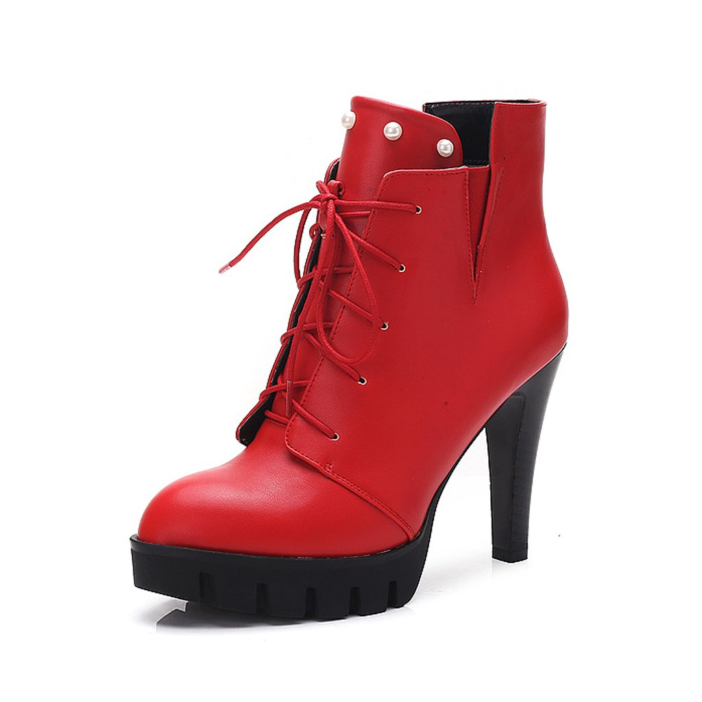 Women 's Martin boots spring and autumn thin shoes personality high heels short boots ( Color : Red , Size : US:5UK:4EUR:35 ) by LI SHI XIANG SHOP (Image #1)