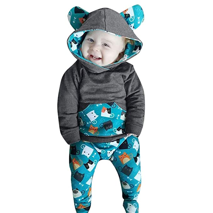 Fheaven (TM) Newbron Baby Boys Girls Hooded Tops Long Sleeve Animal Print Tops with Poctet + Pants Outfits Set (12-18 Months, Gray)