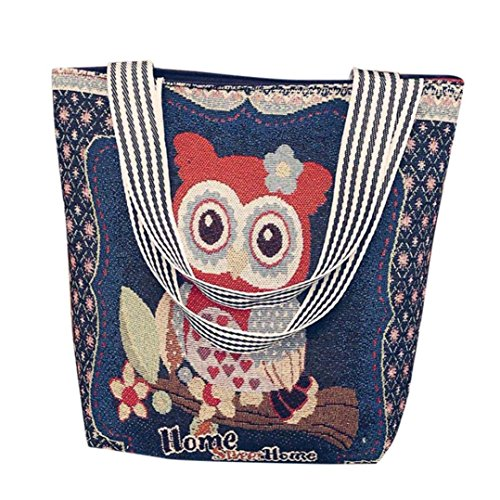 Price comparison product image Outsta Owl Tote Bags, Couple Canvas Cartoon Shoulder Bag Handbags Postman Package Messenger Satchel Crossbody Bag Phone Bag Holders Classic Casual Daypack Travel (B)
