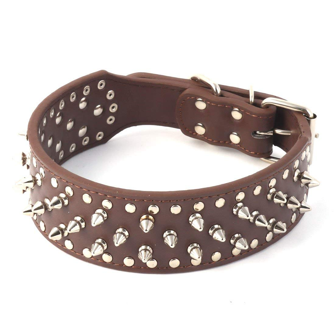 Faux Leather Pet Supplies Metal Rivets Studded Spiked Dog Cat Neck Strap Buckle Collar