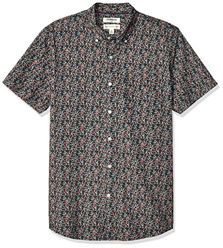 Goodthreads Men's Standard-Fit Short-Sleeve Printed Poplin Shirt, Pink Mini Floral X-Large Tall