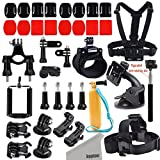 Kupton GoPro Accessories Kit for GoPro Hero 5 / Hero 5 session/ Hero Session/ Hero 4 3+ 3 2 Xiaomi Yi/ 4K SJ4000 SJ5000 and other Outdoor Action Camera