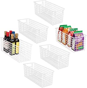 mDesign Narrow Farmhouse Decor Metal Wire Food Storage Organizer Bin Basket with Handles for Kitchen Cabinets, Pantry, Bathroom, Laundry Room, Closets, Garage - 16
