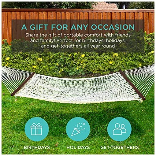 Garden and Outdoor Best Choice Products 2-Person Woven Cotton Rope Double Hammock for Porch, Backyard, Patio, w/Spreader Bars, Carrying… hammocks