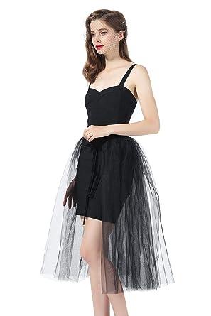 584aff0b369a3b Black Tulle Overskirt Tutu Detachable Skirt 3 Layered Overlay with Velvet  Ribbon for Women Wedding Party