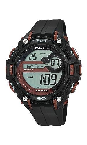 Calypso - Reloj Digital Unisex con LCD Pantalla Digital Dial y Correa de plástico en Color Negro K5690/5: Amazon.es: Relojes