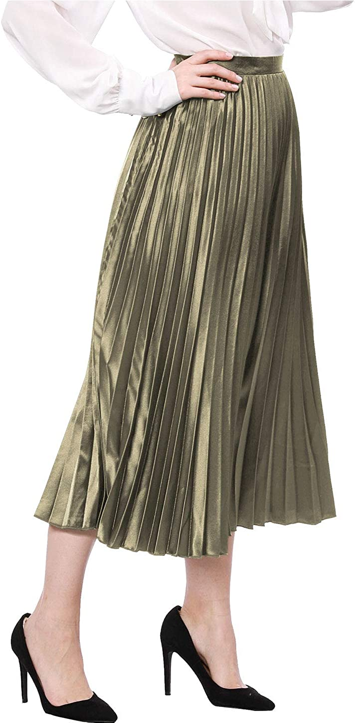 Allegra K Jupe mi-Longue pliss/ée en accord/éon pour Femme